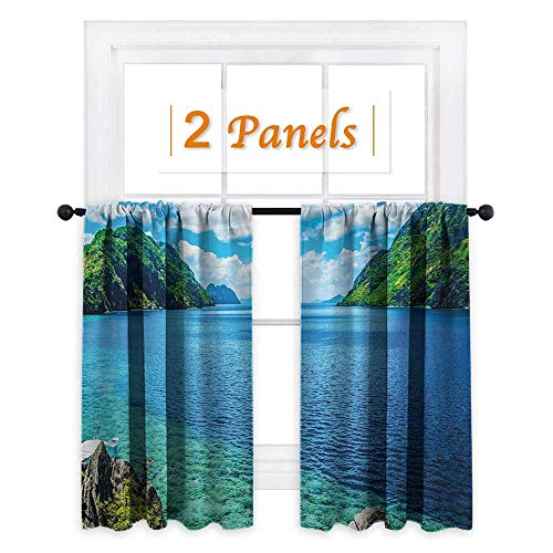 Nature Blackout Draperies for Bedroom Scenic View Sea Bay and Mountain Islands in Palawan Philippines Idyllic Image Thermal Insulating Blackout Curtain W63 x L45 Blue Green ()