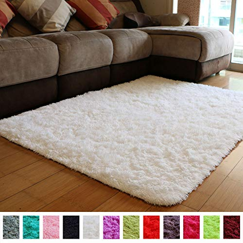 Shag Carpet - PAGISOFE Soft Comfy White Area Rugs for Bedroom Living Room Fluffy Shag Fur Carpet for Kids Nursery Plush Shaggy Rug Fuzzy Decorative Floor Rugs Contemporary Luxury Large Accent Rug 4' x 5',(White)