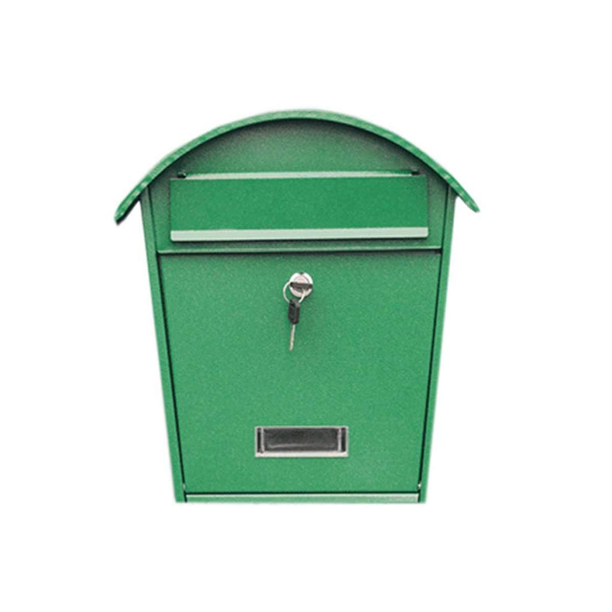 屋外の防水ステンレス鋼の壁に取り付けられたヨーロッパ式の別荘提案箱多機能の郵便箱創造的な新聞用箱(緑)   B07RFLDSRD