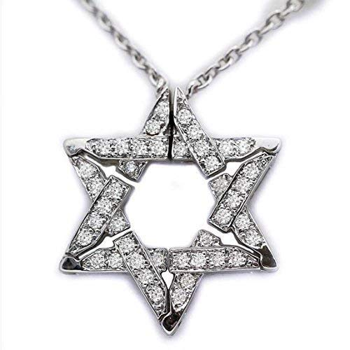- Baltinester Jewish Jewelry 14k White Gold Diamond Star of David Pendant Expandable Butterfly Necklace
