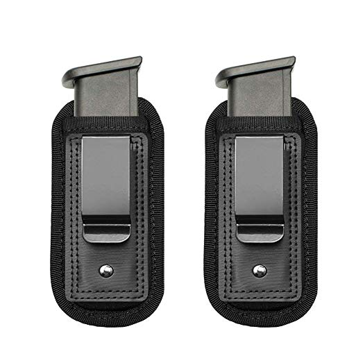 TACwolf 2 Pack IWB Inside Waistband Pistol Handgun Magazine Holster Pouch for Concealed Carry Universal Single Double Stack Mags for Glock17 26 19 Sig Sauer S&W Springfield XD Ruger (Best Holster With Double Magazines)