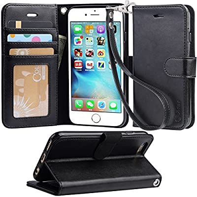 Iphone 6s Case, iphone 6 case, Arae Apple Iphone 6 / 6s [Wrist Strap] Flip Folio [Kickstand Feature] PU leather wallet case with ID&Credit Card Pockets