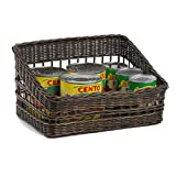 The Basket Lady Wicker Tapered-front Pantry Basket, Large, Antique Walnut Brown