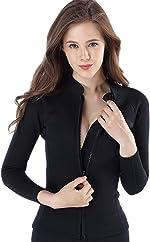 Micosuza Women's Wetsuit Jacket Premium Neoprene 1.5mm Long Sleeve Front Zip