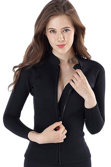 Amazon.com   Micosuza Women s Wetsuit Jacket Premium Neoprene 2mm Long  Sleeve Front Zip Wetsuit Top   Sports   Outdoors 62abcf5fe