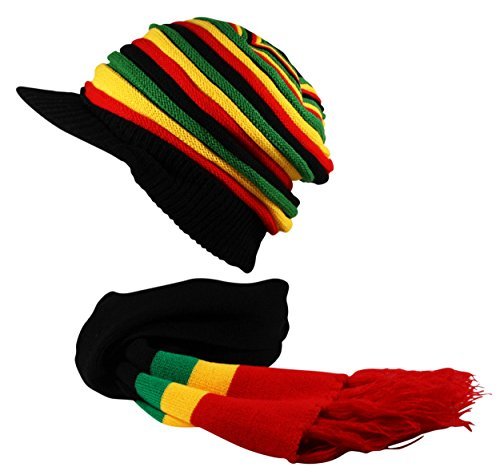 Rasta Hat and Scarf Set Slouch Oversized Knitted Beanie Cap Hat Reggae Black Red Yellow Green
