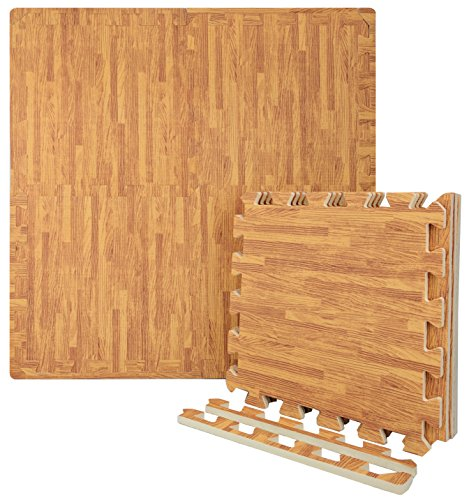 Wacces 12 x 12 inch Multi-Purpose Puzzle EVA Floor Interlocking Foam Exercise Mat Tiles with Wood Design – White Oak Review