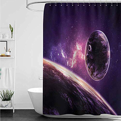 Womens Shower Curtain,Galaxy Planets Over Purple Nebula Celestial Comet Magic Rays Universe Astronomy Picture,for Master, Kid's, Guest Bathroom,W72x84L,Magenta Mauve