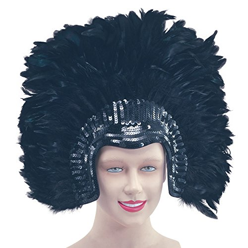 Bristol Novelty BA638 Feather Headdress Black Deluxe, One Size