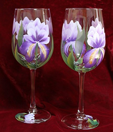 Hand Painted Wine Glasses - Purple Iris (Set of (Hand Painted Iris)
