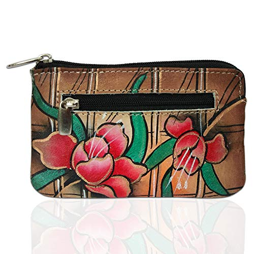 Louis Pelle RFID Blocking Hand Panted Coin Change Pouch Genuine Leather Minimalist Women Wallet (Rose)