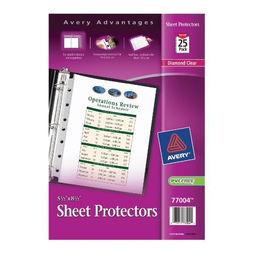 Avery Mini Heavyweight Sheet Protectors, 5.5 x 8.5 Inches, Pack of 25 (77004) (Round Edge Business Cards compare prices)