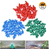 Eshylala 100 Pieces 360 Degree Atomizing Sprinkler Spray Garden Watering Irrigation Atomizing Sprinkler Refraction, Random Colors