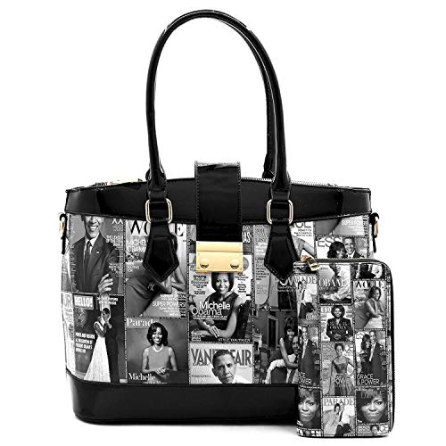 Glossy Magazine Cover Collage Michelle Obama Printed Multi Compartments Satchel Purse + Matching Wallet 2pcs Set (81W-BK)