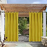 cololeaf Outdoor Curtains for Patio Extra Wide Waterpoof Solid Tab Top UV Ray Protected for Patio Porch Gazebo Pergola Cabana Dock Beach Home - Yellow 150W x 102L Inch (1 Panel)