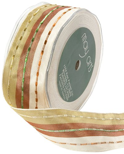 May Arts 1-1/2-Inch Wide Ribbon, Brown and Ivory with Metallic Stripes ()