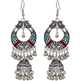 Vintage Silver Alloy Bells Beads Tassel Statement Earrings for Women Turkish Tribal Gypsy Indian Jewelry Party Style 1