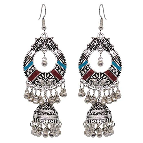 Vintage Silver Alloy Bells Beads Tassel Statement Earrings for Women Turkish Tribal Gypsy Indian Jewelry Party (Style 1)