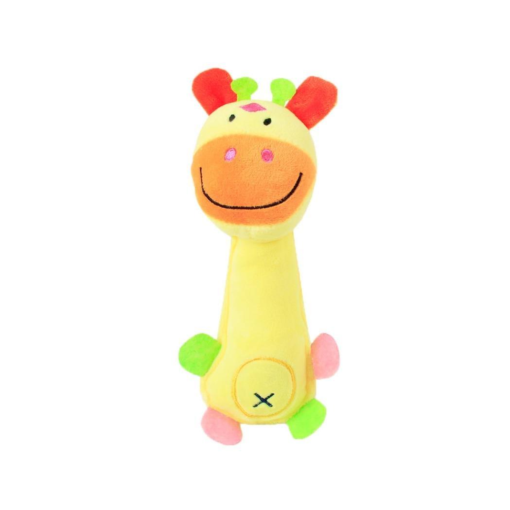 Wakeu Pet Supplies Giraffe with Squeaky Chew Plush Dog Toy (Yellow)