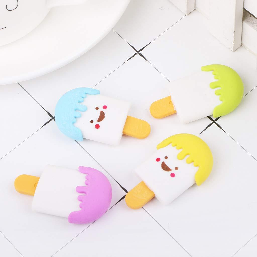 Cute 3D Cartoon Face Ice Cream Rubber Erasers Pencil Eraser for Kids School Supplies Stationery