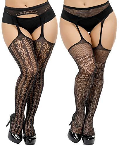 TGD Womens Plus Size Stockings Suspender Pantyhose Fishnet Tights Black Thigh High Stocking 2Pairs Size(US 8-16) (Black 5593)