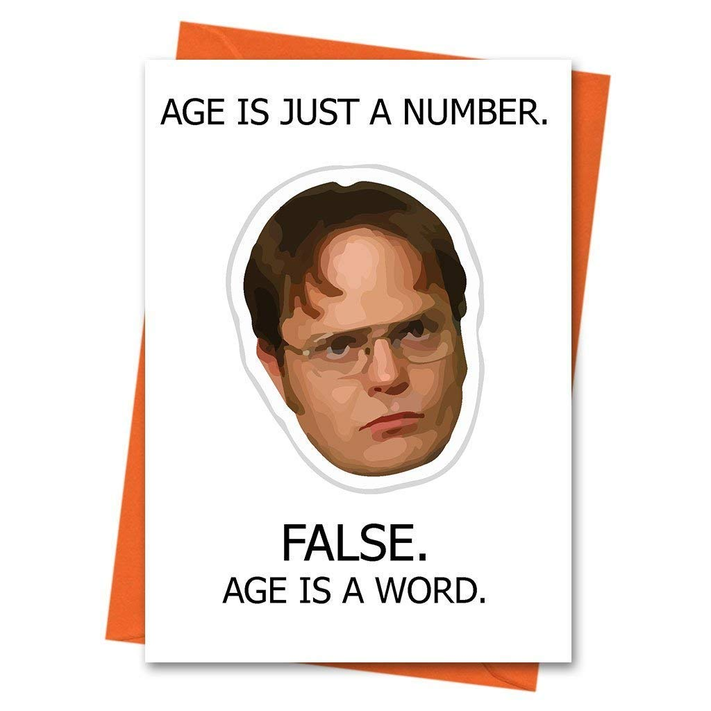 dfed11dde29ab Funny Birthday Card The Office US Dwight Schrute - Age is Just a Number  Office TV Series Greeting Card  Amazon.co.uk  Office Products