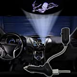 SHE'O® Open Arm 3D skeleton evil ghost USB Car Ceiling roof Cigarette lighter projector logo shadow ghost LED light lamp projection light atmosphere reading light ON/OFF Switch 360 degree