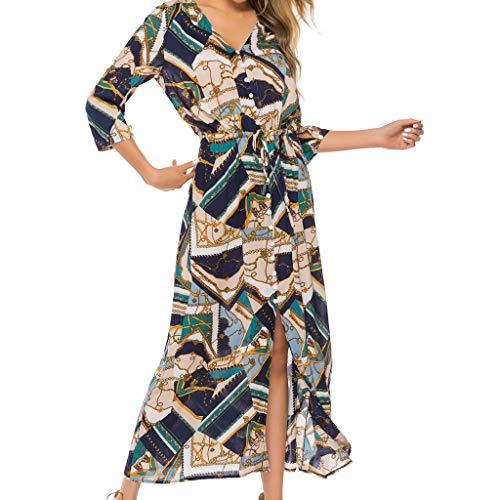 Aniywn Women's Summer Printing Bohemian Button Long Dresses Half Sleeve V-Neck Maxi Holiday Dress Green
