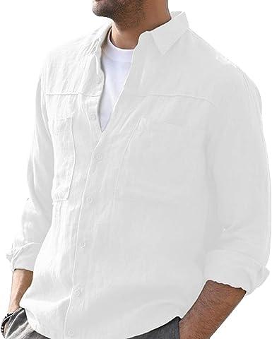 Dihope - Camisa clásica para hombre de manga larga, cuello redondo Slim Fit Camiseta Casual Color Alto de Ocio, Moda Business Original: Amazon.es: Ropa y accesorios