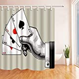 CdHBH Casino Decor Man Hand with Poker Shower Curtain 71X71 inches Mildew Resistant Polyester Fabric Bathroom Fantastic Decorations Bath Curtains Hooks Included