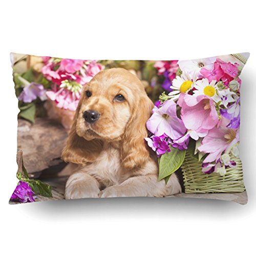 Emvency Queen Throw Waist Pillow Case 20x30 Inches Decorative Cushion Pillowcases Cocker Spaniel puppyfnd flowers in basket Throw Pillow Cover With Hidden Zipper For Bedroom Decor Sofa Couch