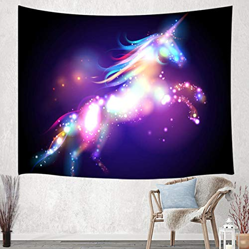 - JAWO Unicorn Tapestry Wall Hanging, Colorful Fantasy Animals with Bright Spots Young Tapestries for Dorm Living Room Bedroom, Wall Blanket Beach Towels Home Decor 60X40 Inches