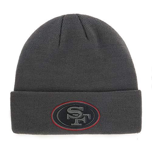 NFL San Francisco 49ers Men's Raised OTS Cuff Knit Cap, Charcoal, One Size Big Logo Knit Cap
