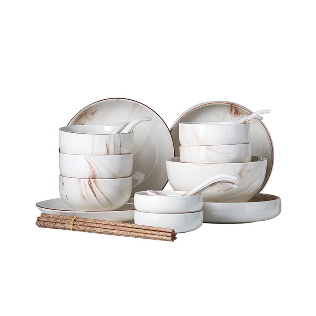 TLTLCJTZ Juego De Platos, Creativa Combinación Japonesa De Cubiertos Hogar Comer Tazón Mármol Personalidad Cuenco Conjunto De Cubiertos (Tamaño : Suit Two): ...