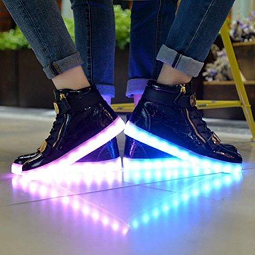 Up Schuhe Trainer Farben Top Light Led kleines JUNGLEST® High Schwarz Vorhanden Unisex Unisex Handtuch 7 und Herren für qpvgUPw