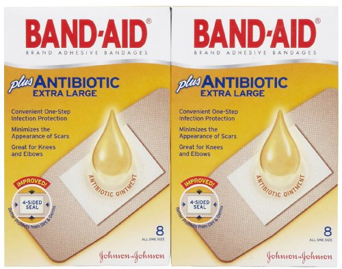Band-Aid Antibiotic Waterproof Adhesive Bandages-8ct, Extra Large, 2 - Antibiotic Bandages Band Aid