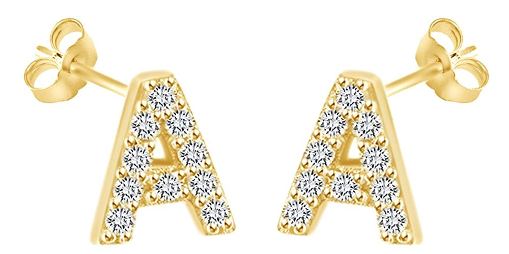 b541ca8e4 Mothers Day Jewelry Gifts Round Cut White Cubic Zirconia Alphabet A-Z Letter  Initial Stud Earrings In 14k Yellow Gold Over Sterling Silver