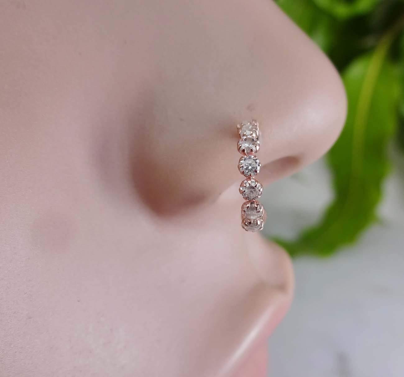 Amazon Com Crystal Nose Ring Rose Gold Nose Ring Diamond Nose Hoop Rose Gold Nose Hoop Indian Nose Ring Indian Nose Hoop Traditional Nose Piercing Gold Nose Hoop