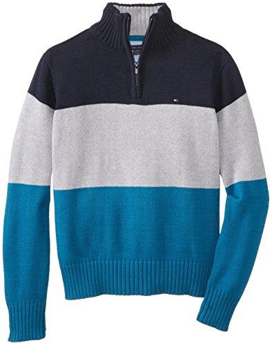 Tommy Hilfiger Big Boys' Dominic Striped 1/4 Zip Sweater, Swim Navy, (Half Zip Striped Sweater)