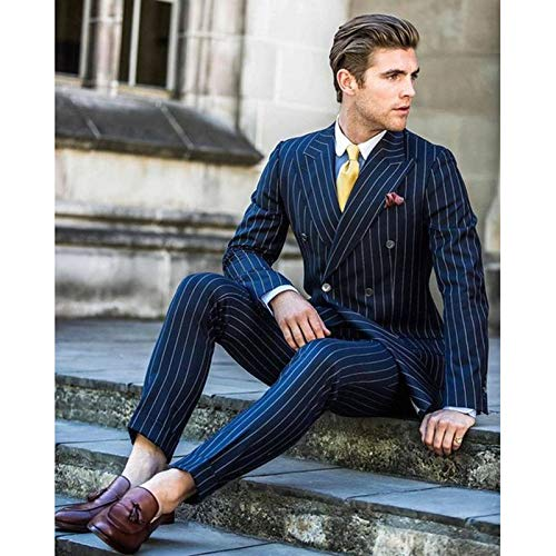 De Smoking Double Mariage Pantalon Boutonnage Costume Robe amp; Pour À Marin En Veste Bleu Yzhen Hommes Aq0XPnO7