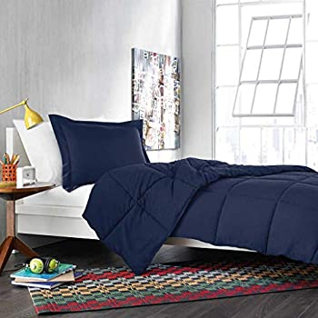 Image of 1000 Thread Counts Olympic Queen Size 4pc Sheet Set (Upto 15' Deep Pocket) + 1pc Comforter 300 GSM Fiber Fill Navy Blue Solid 100% Egyptian Cotton - by AP Beddings Home and Kitchen