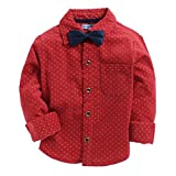 CrayonFlakes Red 100% Cotton Long Sleeve Shirt with Blue Bow Tie