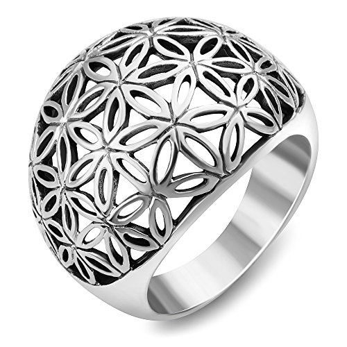 Chuvora 925 Sterling Silver Open Filigree Flower of Life Dome Shape Mandala Band Ring Size 7 - Nickel Free