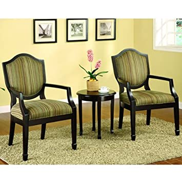 Amazon Com Delaware 3 Piece Accent Chair Table Set Armchairs