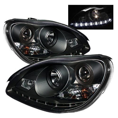 For Mercedes Benz W220 S-Class Sedan Black Bezel Halogen Type Projector Headlights Lamps Replacement