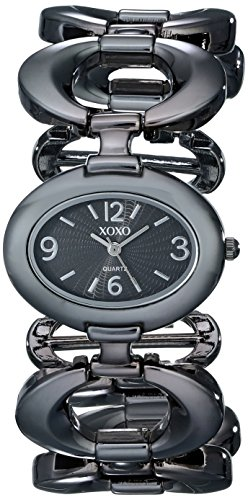 XOXO Women's XO5207 Black Dial Gun Metal Open Link Bracelet ()