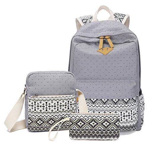 Abshoo Canvas Dot Backpack Cute Lightweight Teen Girls Backpacks School Shoulder Bags (Grey)