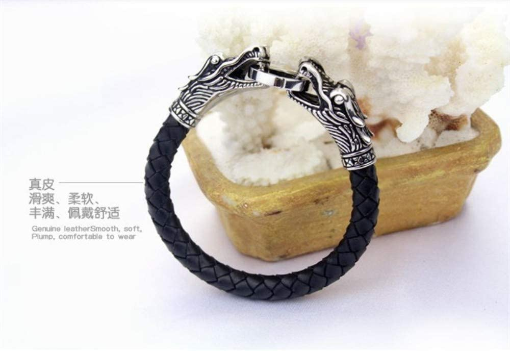 ZHWM Jewellery Bracelets Bangles Pu Tibetan Silver Men Women Bracelet Stainless Steel Fashion Male Vintage Parataxis Dragon Bracelet /& Bangles Silver Jewelry