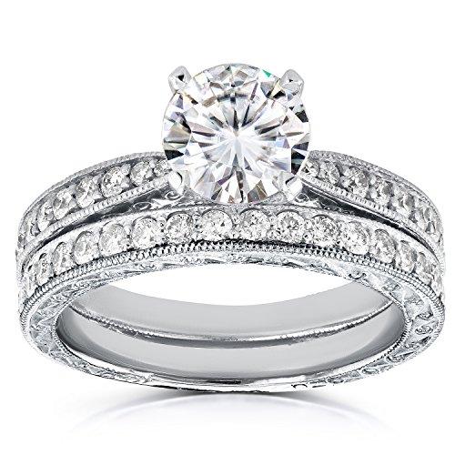 Forever Antique Brillant & Bague de Mariage Diamant en Or 911/2Outlet-14K Or Blanc _ 10,5