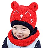 Midress Toddler Baby Girls Boys Warm Cap Scarf Set,Knitting Pompon Headgear Beanie Cap,Baby Toddler...